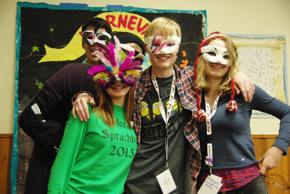 Students in Karneval masks at the 2015 immersion weekend
